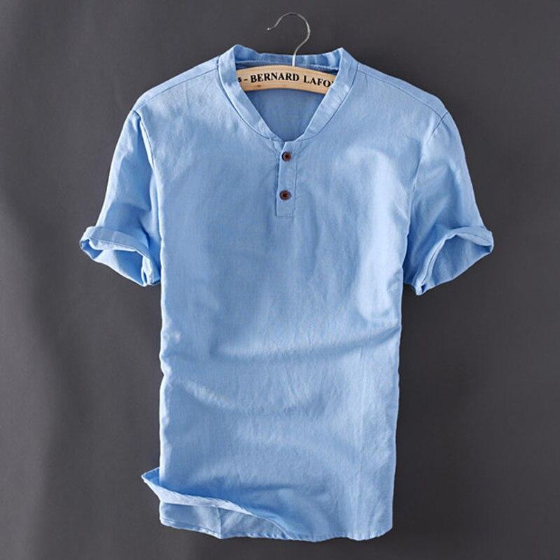 Verano 2018 nueva Camiseta suelta De lino De algodón De manga corta Casual Vintage Camiseta De Los Hombres