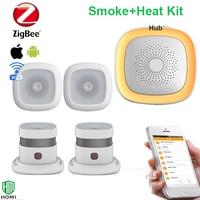 Wireless Wifi APP push fire alarm message smoke+heat detectors smoke and temperature sensors secure fire alarm system