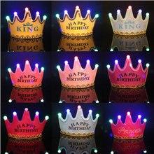 9 цветов светодиодные светящиеся счастливые шляпы для вечеринки по случаю Дня рождения корона шляпы для принцессы головная повязка Дети Взрослые шляпы Рождественские подарки поставки