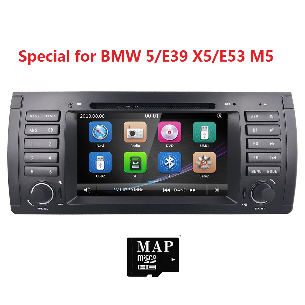 Car dvd player for bmw e39 e53 x5 autoradio navigation with bluetooth ipod rds rearview swc