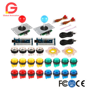 2 Player LED Arcade Game DIY Kit for Joystick MAME Raspberry Pi Zero Delay USB Encoder + LED Push Button Octagonal Restrictor