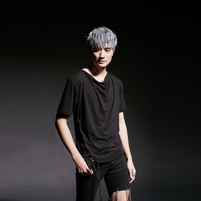 Men Fashion Personality Side Bands Punk Rock T Shirt Night Club Stage Costume Mens Harajuku
