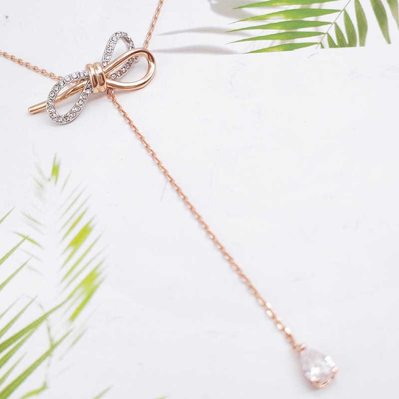 女性のジュエリーは、ネックレスで装飾 Cz ロングペンダント繊細な弓ノットペンダントパーティー誕生日プレゼント