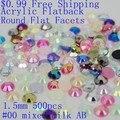 $0.99 1.5mm 500 pcs Acrílico Pedrinhas Para Mini Unhas Encantos Arte Facetas Liso rodada de Volta Plana AB Cores Cola Em Diamantes DIY