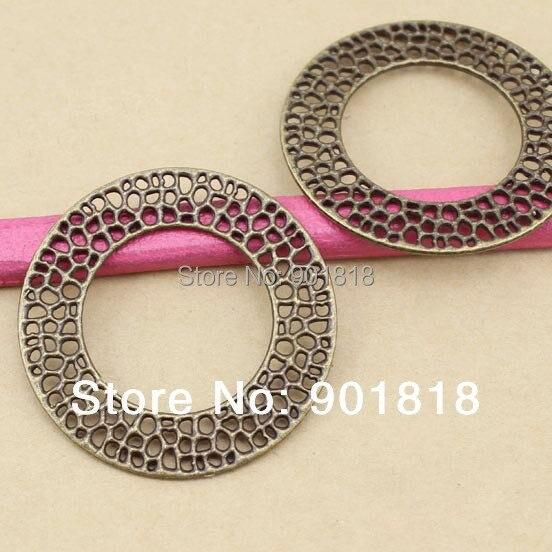 metal charms jewelry DIY 10pcs/lot hollow ring pendant antique bronze F943