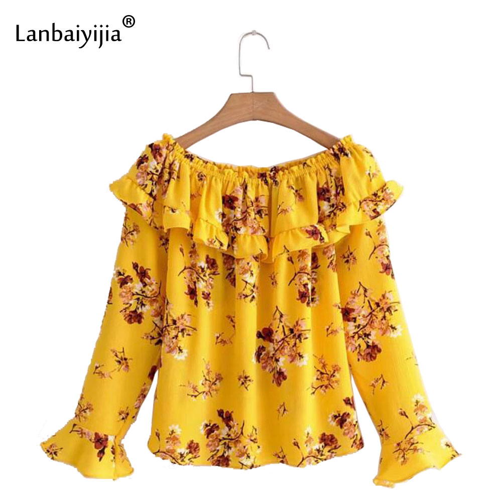 Lanbaiyijia 2018 Fashion brand Shirt Women shirts Floral print Slash neck long sleeve Shoulder Off Sexy