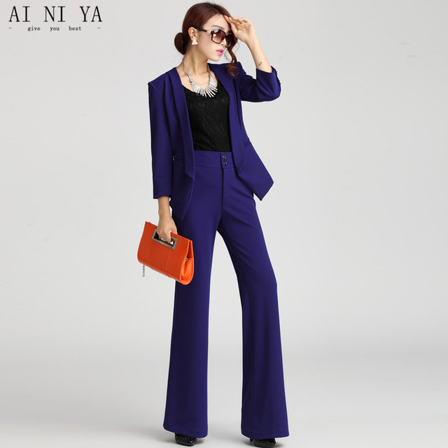 New Purple Womens Business Suits  Female Office Uniform Ladies Trouser Suits Formal Womens Tuxedo High-waisted Trousers Suit