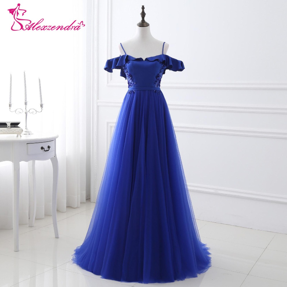 Alexzendra Stock   Dress   Royal Blue Tulle Long   Prom     Dresses   Off the Shoulder Backless Party   Dresses   Evening   Dress