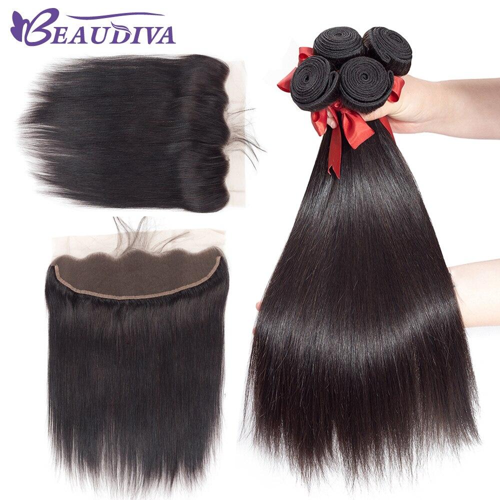 Beaudiva Brazilian Straight Hair Weave Bundles With Frontal Human Hair Bundles With Frontal Closure 13 4