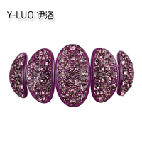 Women S Luxury Oval Shape Rhinestone Crystal Cellulose Acetate Hair Clip Barrettes 11cm Long FREE SHIPPING