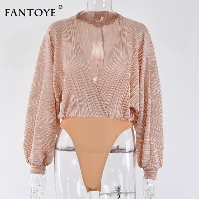 Fantoye Sexy Deep V-Neck Bodysuit Women Loose Chiffon Elastic Fit Rompers Womens Home Wear Casual Basic Jumpsuit Bodysuits Tops 4