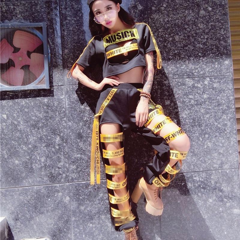 New Jazz Dance Costume Hip Hop Street Dance Nightclub DJ Female Singer Performance Suit Hollow Trousers T-Shirt Two Set DWY1288