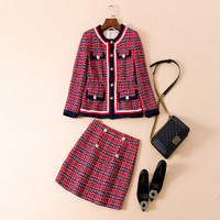 European and American women's wear autumn 2018 The new Long sleeve The fox buttons Plaid coat + skirts Tweed suit