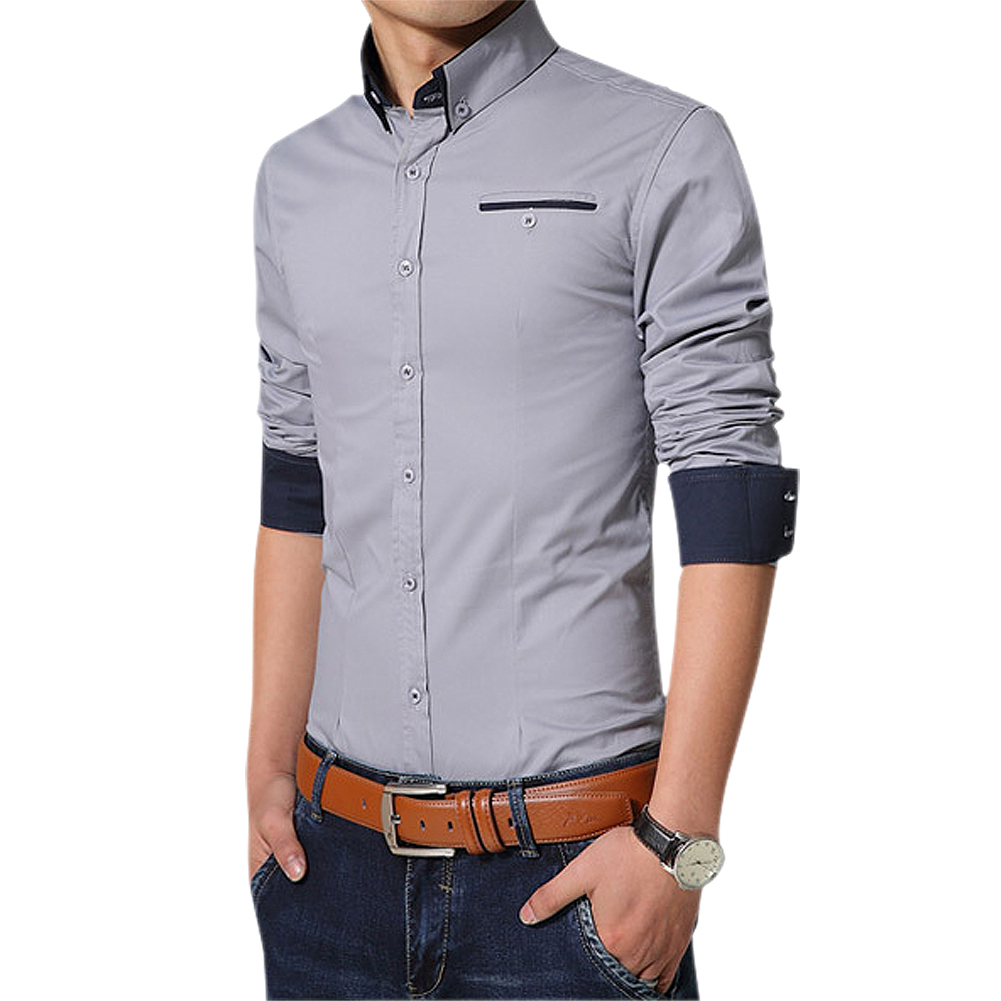 SYB 2017 NEW New Men Shirts Long Sleeve Lapel Casual Shirt Men Slim Fit Formal Social Shirt gray