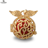 Eudora Harmony Ball Angel Caller Jewelry Glod Plated Angel Wings Locket Cage Pendant Chain Necklace for Pregant Women and Baby