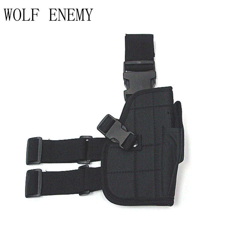 Adjustable Wrap-Around Tactical Thigh M92 Leg Pistol Gun Holster Coldre Pouch with Magazine Pocket