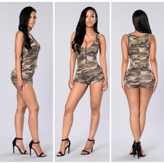 Summer Ladies Sexy V-neck Sleeveless Camouflage Jumpsuit