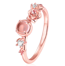 Beauty And The Beast Bell Princess Ring Rose Gold Three-dimensional Small Pollen Rose Flower Crystal Ring(China)