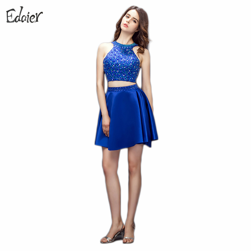 Royal Blue Two Piece Cocktail Dresses 2017 New Fashion A Line Halter Open Back Beaded Crystal Short Dress Party Cocktail Dress