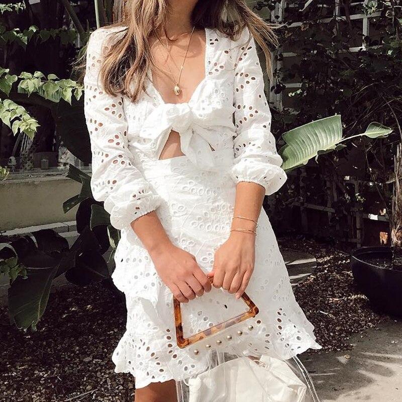 Pizzo Womne 2019 Casual A In Vestito Nuovo Bianco Fuori Del Scollo Vacanza Femminile Nlw Scava Up Vestidos Abito Corto Vintage V Ricamo T0xYwBq
