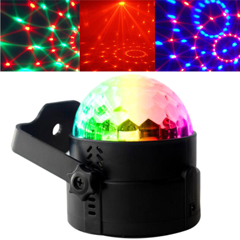 3W Voice-activated remote control LED small magic crystal ball mini rotating light colorful laser stage lights KTV bar magic ball lamp voice pattern rotating colorful lights flash bar ktv laser stage lighting with sound crystal