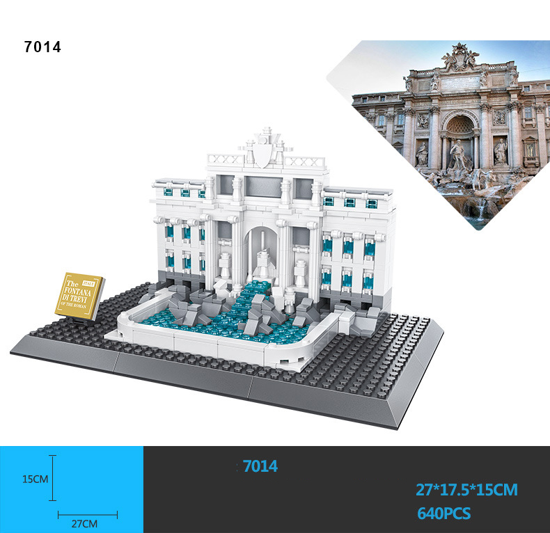 Hot world famous architecture model bricks Itayly rome Fontana di Trevi building block assemblage educational toys collection aiboully city 7014 7017 model the louvre in paris rome fontana di trevi building blocks sets bricks toys compatible with gift