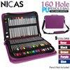 160 Holders Portable PU Leather Pencil Case Artist Messenger Estojo De Lapis Carry Fold Case School