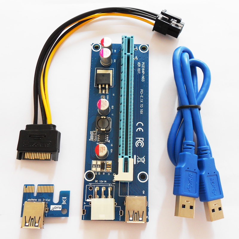 100pcs/lot VER 007 6pin Power supply PCI-E Riser Card for BTC ETH Miner Machine PCI Riser Board for Mining VER007 fsc 1717vn ver a7 indistrial board cpu card 100