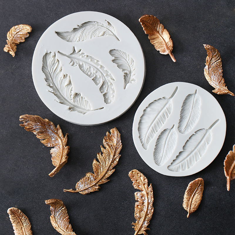 Feather Sugar Buttons Silicone Mold Fondant Mold Cake Decorating Tools Chocolate Gumpaste Mold K136