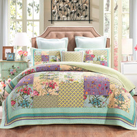 CHAUSUB Patchwork Bedspreads Quilts For Bed Flowers Printed Cotton Quilt Set 3 Piece King Queen Size Quilted Coverlets Green