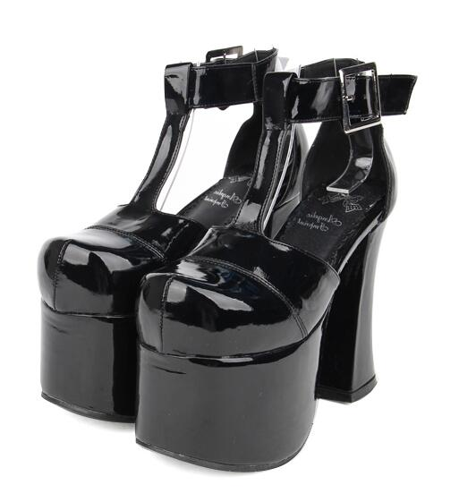Pompes Soirée 33 Haute Empreinte Cosplay Fille Patent De Femmes flock rouge T Chaussures Dame Lolita Angélique Robe Mori Talons Femme strap 47 Leather Princesse TUx8W7