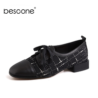 BESCONE Hot Sales Women Flats Black Real Cow Leather Splicing Plaid Casual Shoes For Female Cross Tied Spring Lady Flats BO86
