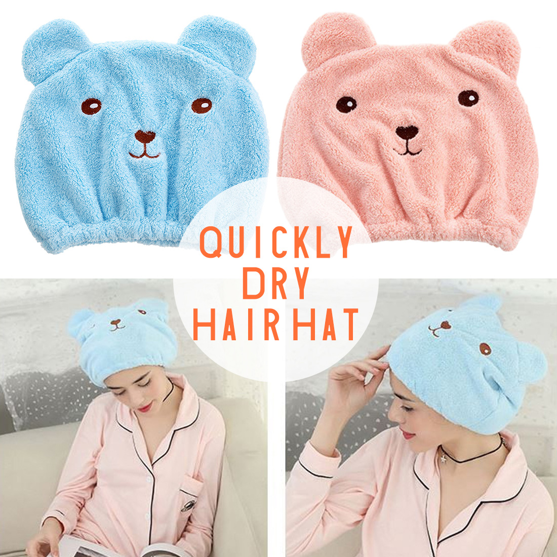 Pink Blue Cartoon Cute Bear Shower Cap Women Super Absorbent Quick-drying Bath Towel Hair Dry Cap Salon Towel Bathroom Products