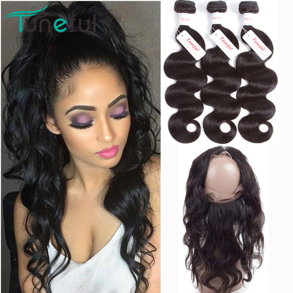 360 Frontal With Bundles Body Wave Tuneful 100% Peruvian Remy Human Hair Weft Weave Pre Plucked 360 Lace Frontal With Bundle