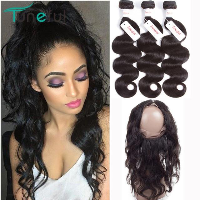 360 Frontal con paquetes onda del cuerpo Tuneful 100% peruano Remy cabello humano trama tejido Pre desplumado 360 encaje Frontal con paquete