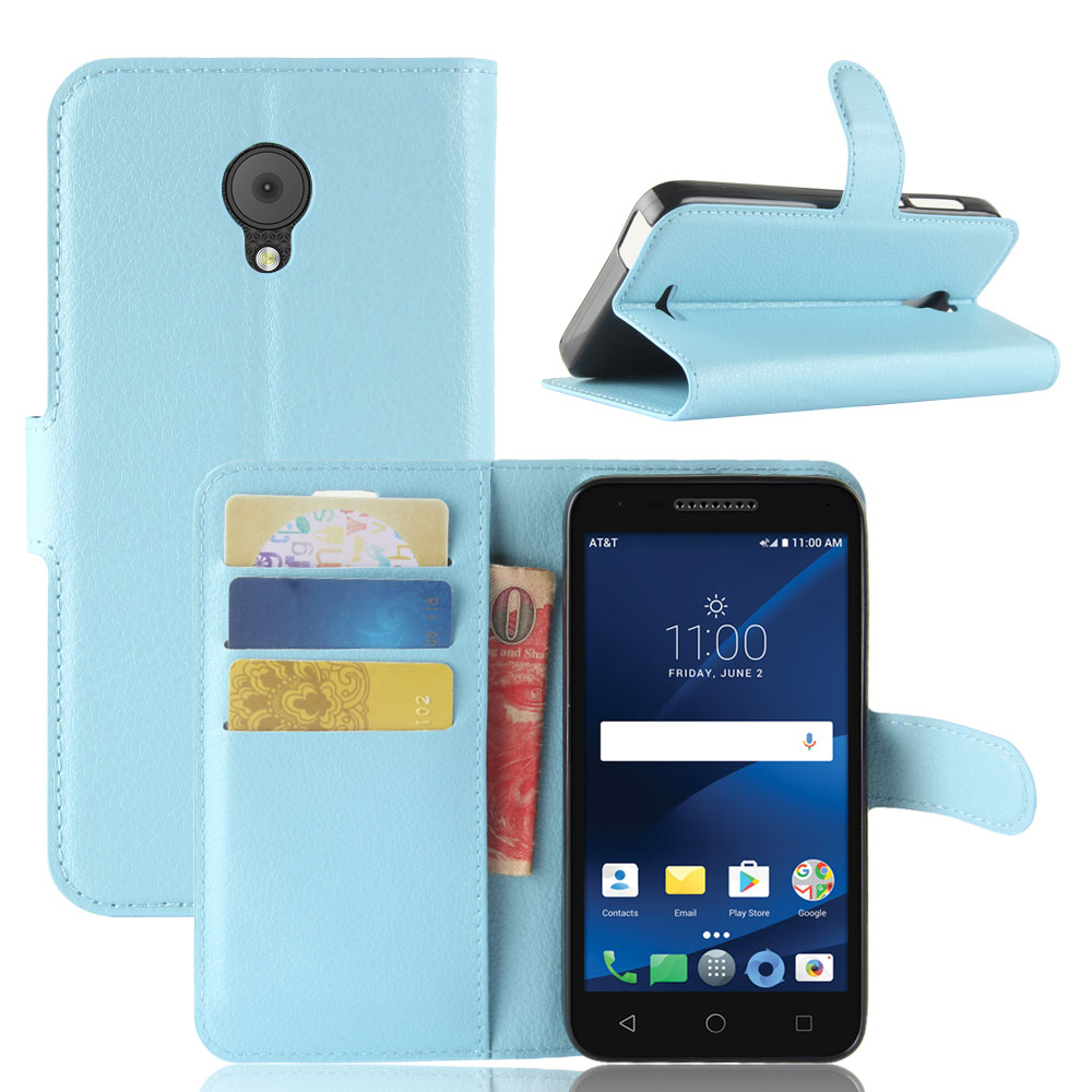 New For Alcatel idealXCITE/CameoX 5044R/Verso/Raven LTE A574BL Phone PU  Leather Protective Back Cover Flip Case With Card Pocket