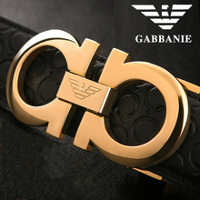 [Italian imports] GABBANIE belt men's high-grade leather pure copper smooth buckle layer leather waist
