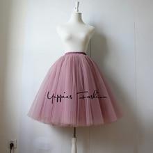 Качество 5 слоев 65 см модные Тюлевая юбка плиссированные юбки Юбки для женщин Женская Лолита Нижняя юбка подружек невесты миди юбки Jupe saias Faldas