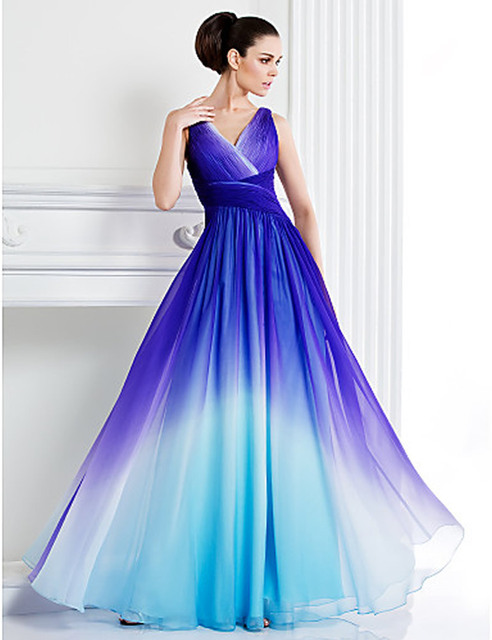 b78448cbadd A-line Blue Color Gradient Chiffon V-neck Floor-length Prom Dress  Sleeveless Criss-Cross Ruched robe de soiree