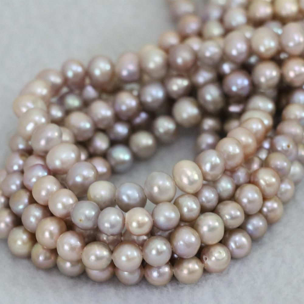 7e740f78671b Elegante belleza mujeres regalo 7-8mm púrpura de agua dulce natural de la  perla rebordea los granos redondos de la manera joyería al por mayor al por  menor ...