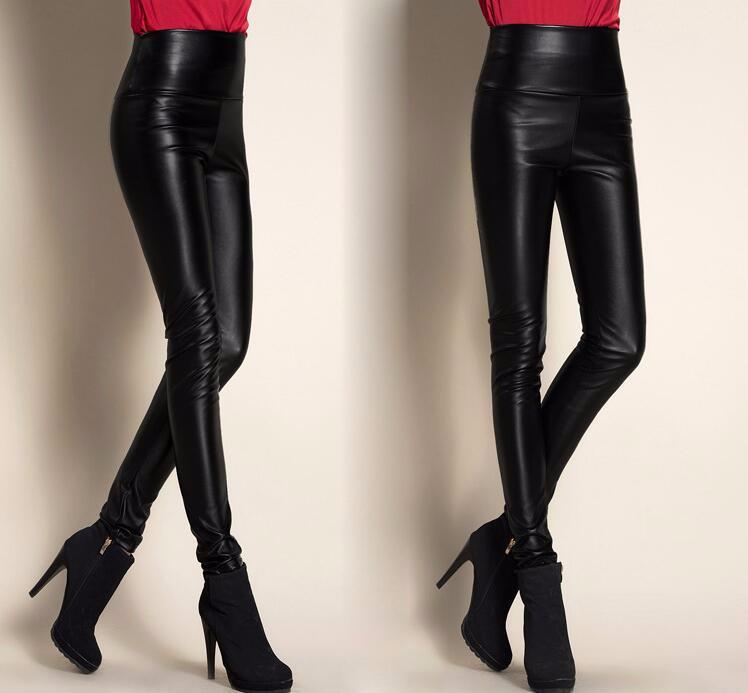 Leggings winter Women High Waist PU Leather Legging Slim Faux Pants Female Fashion Warm Leggings Women 10