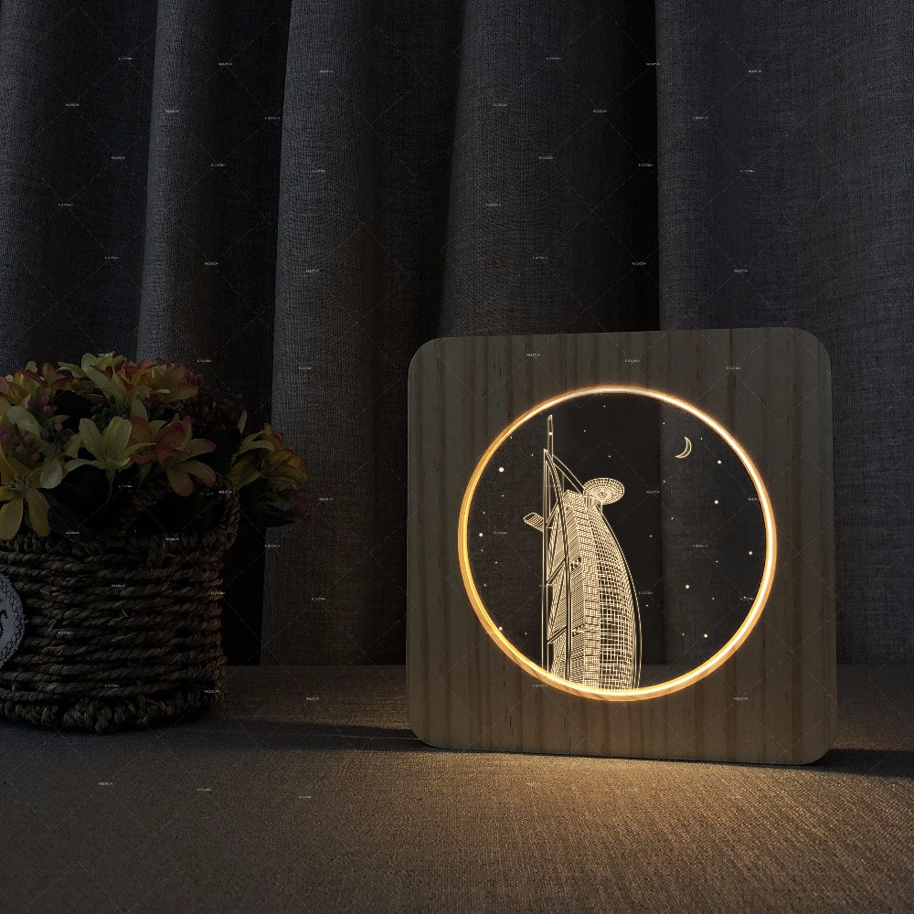 Burj al Arab 3d shape Wooden acrylic lights warm white lights gift for tourists Support dropshipping table lamp bedroom стоимость