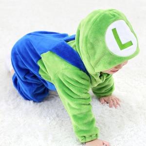 Image 5 - ベビーマリオルイージブラザーズ着ぐるみ新生児幼児ロンパース動物ロンパースコスプレ衣装衣装フード付きジャンプスーツ冬春スーツ