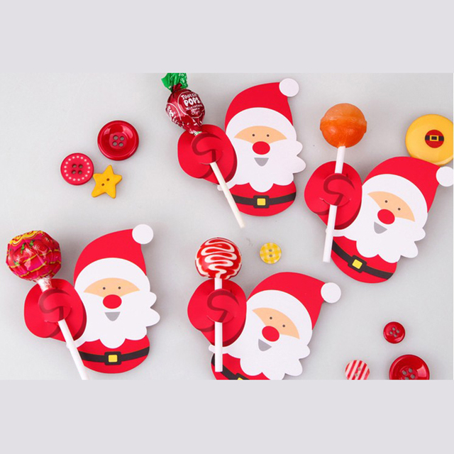 50pcs Hot Sale Penguin Santa Claus Lollipop Paper Card Decoration Birthday Party Candy Decor Christmas Candy Gift For Kids 2