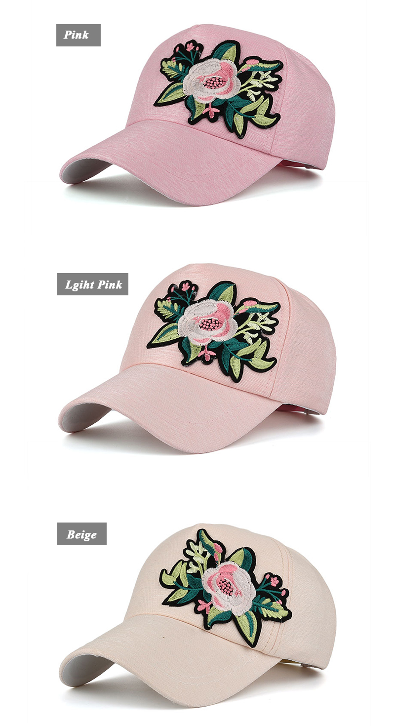 Embroidered Flower Snapback Cap - Pink Cap, Light Pink Cap and Beige Cap