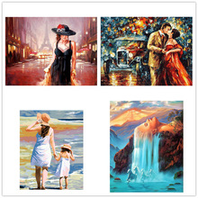 Street girl painting digita oil home decoration hand-painted Painting for Numbers