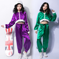 New Jazz Costume For Girls Hip Hop Street Dance Stage Outfits Clothing Kids Short Showing Navel Performance Dancing Wear DL2956