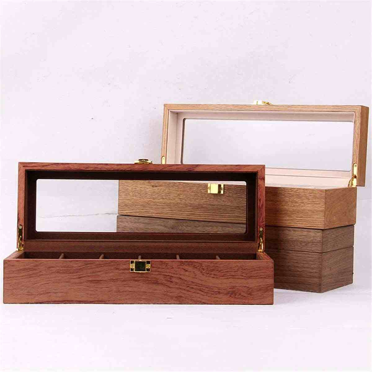 6/10/12 Grids Retro Red Wooden Watch Display Case Durable Packaging Holder Jewelry Collection Storage Watch Organizer Box Casket