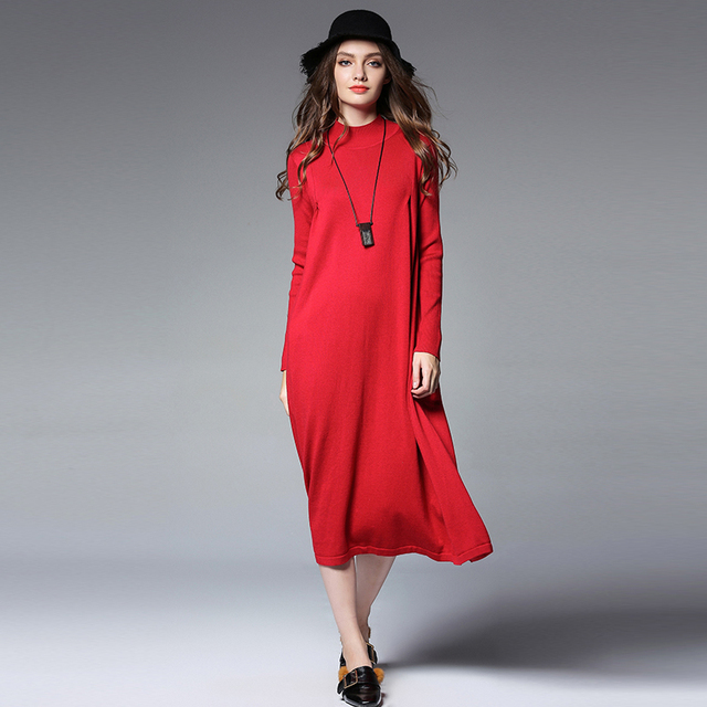 Euramerican High end Large size lady's dress turtleneck long sleeve loose casual high waist Knitting sweater plus size  dresses