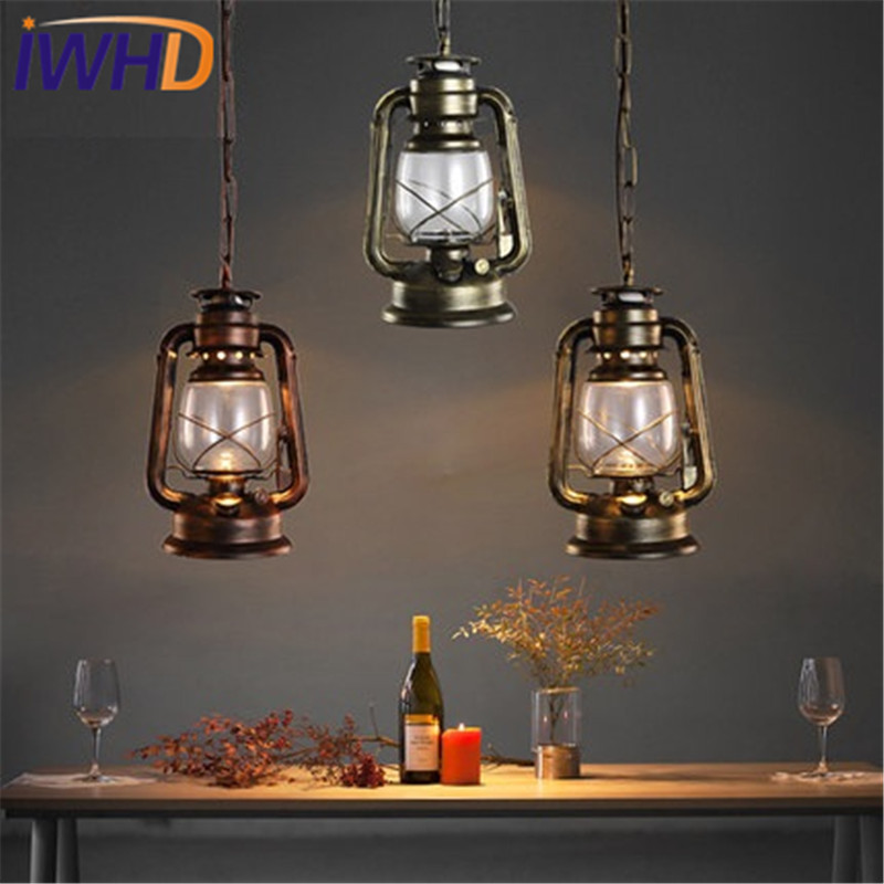 IWHD Iron Glass Antique Kerosene Droplight Industrial Vintage Lighting Pendant Light Fixtures For Dining Room Hanging Lamp american edison loft style rope retro pendant light fixtures for dining room iron hanging lamp vintage industrial lighting
